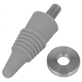 """Silicone Bottle Stopper with 3/8"""" x 16 tpi"""